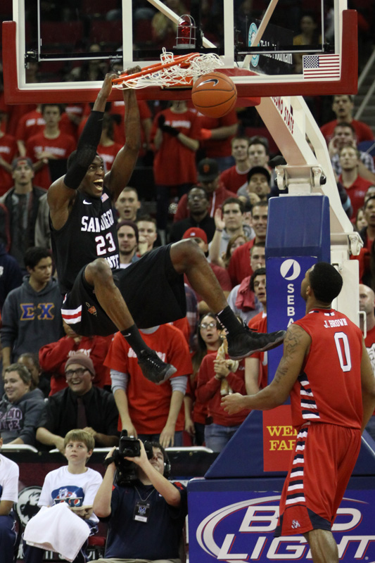 San Diego State's Skylar Spencer (0) goes in for a dunk during the Aztecs' 65-62 win Wednesday night at the Save Mart Center. Photo by Dalton Runberg / The Collegian