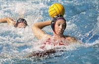 Women's water polo club member Megan Eldredge practices with the team at Clovis West High School. The team finished third in the nation last season.