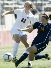 Senior Aubrey Tennant steals the ball away from Cal State Fullerton
