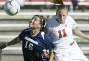 Bulldog defender Aubrey Tennant fights for the ball in the 1-0 win over Utah Sunday afternoon at Bulldog Stadium.