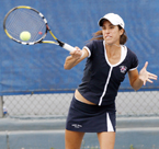 Fresno State's No. 12 women's tennis team is competing in the Intercollegiate Tennis Association National Team Indoor Championships. Melanie Gloria (above) and Tinesta Rowe are the No. 1-ranked doubles team in the nation.