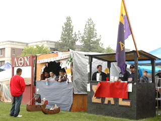 'We are looking forward to having a good turnout this year and some good people,' junior business major Richard Salinas said about the booth that his club, the Hispanic Business Student Association, is putting up this year. Pictured above is the fraternity section of last year's Vintage Days.