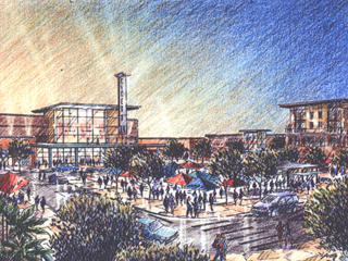 An artist's rendering of Campus Pointe. When completed, the project will include student housing, a movie theater, a hotel and multiple commercial businesses.