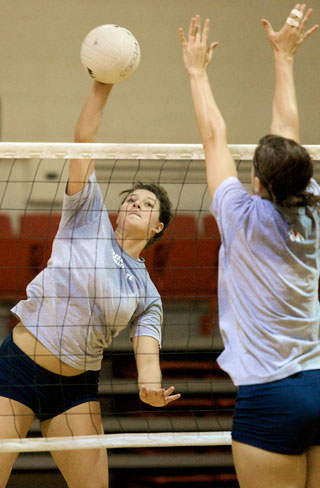 Sophomore outside hitter Tairyn Rasmussen (left) was one of the few bright spots on the team in 2007. She was named to the Western Athletic Conference All-Freshman Team, totaling 153 kills last season.