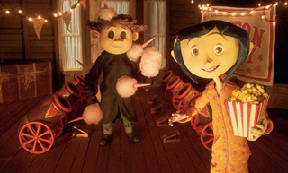Coraline (Dakota Fanning) and the mute Wybie get ready to watch her neighbor's rat circus show, armed with buttered popcorn and cotton candy shot at them from the cannons.