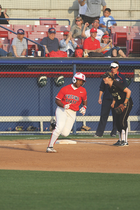 Outfielder Vonnie Martin kicked off Fresno State's season by hitting a grand slam in the Bulldogs' season opener against UTEP. James Ramirez / The Collegian