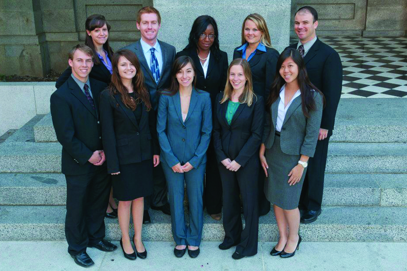 The 2011-2012 Judicial Capital Fellows stand at the state capitol.  The people involved in the program are postgraduate or graduate students. Some individuals are taking time from a career to learn about public policy and service.  Photo courtesy of Capital Fellows Program/ The Collegian