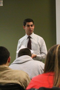 Arthur Montejano, Associated Students Inc. president, talks to students enrolled in Fresno State 101 about leadership opportunities on campus. Photo by Khlarissa Agee /The Collegian