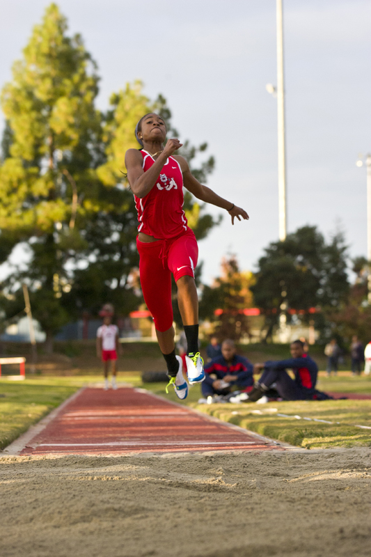Fresno State long Jumper Je'Nia Sears (above) hopes the progress she has made during her freshman year and this season transitions to a top finish in the NCAA Outdoor Championships.  Photo courtesy of Fresno State Athletics