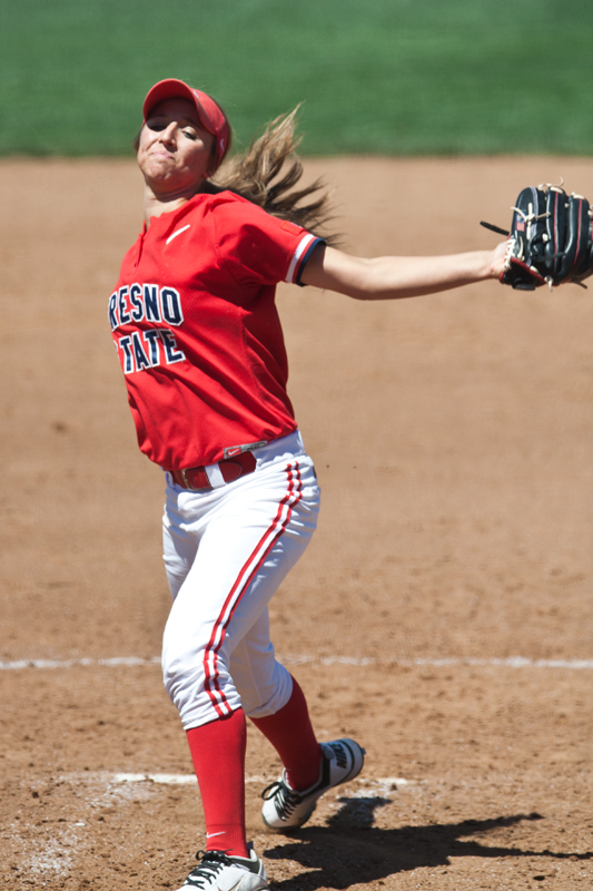 Freshman pitcher Jill Compton threw her fourth complete game shutout of the season during Sunday's 5-0 win against Colorado State on the road. Khlarissa Agee / The Collegian
