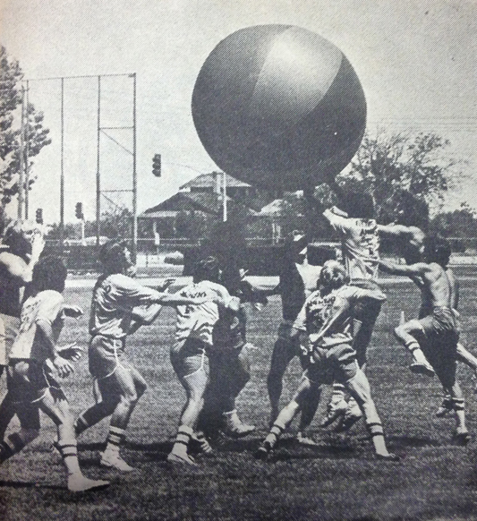 Earth Ball was an original Vintage Days activity that was eventually banned after several injuries. The Daily Collegian / May 1976