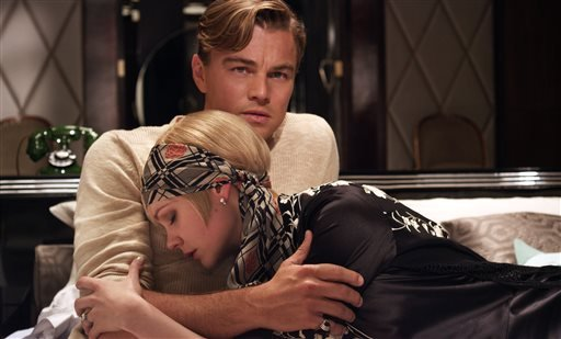 "Pictured: Carey Mulligan as Daisy Buchanan and Leonardo DiCaprio as Jay Gatsby in a scene from ""The Great Gatsby."" (AP Photo/Warner Bros. Pictures)"
