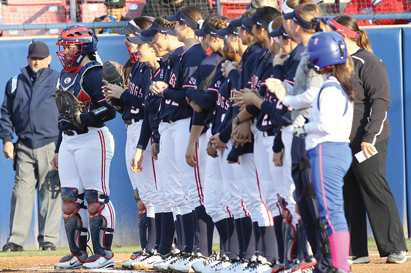 The Fresno State softball hosts New Mexico this weekend at Bulldog Diamond in a three-game Mountain West Conference series -- the final set of games the Bulldogs will play at home this season. Roe Borunda / The Collegian