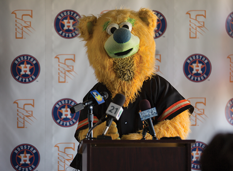 The Fresno Grizzlies' mascot Parker the Bear stands at the podium during a press conference at Chukchansi Park, Thursday, Sept. 18. During the press conference it was announced that the Fresno Grizzlies signed a 2-year player development contract with the Houston Astros