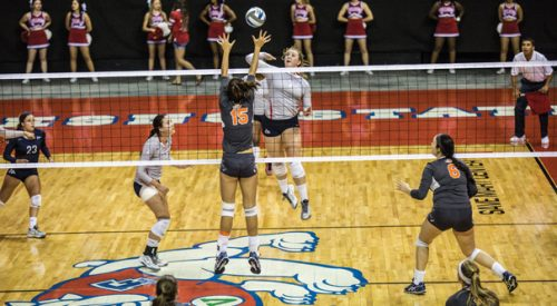 Volleyball: 'Dogs top Utah State on the road, head coach Lauren Netherby-Sewell captures 100th win article thumbnail mt-3
