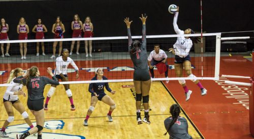 Volleyball: 'Dogs hang on to edge Rebels in highly-contested bout article thumbnail mt-2