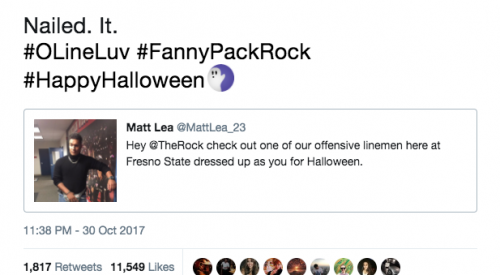 'Nailed it,' says 'The Rock' to Fresno State student's costume article thumbnail mt-3