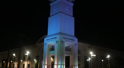 Shehadey Tower lit blue and green in honor of National Donate Life Month article thumbnail