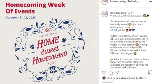Home Sweet Homecoming: Fresno State homecoming returns virtually article thumbnail mt-3
