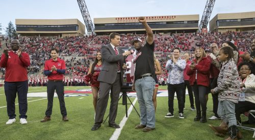 Former Bulldog honored with jersey retirement ceremony article thumbnail